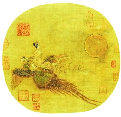 女乘鸾图》里的中秋大月亮(现藏于故宫博物院)-中秋节习俗的演变