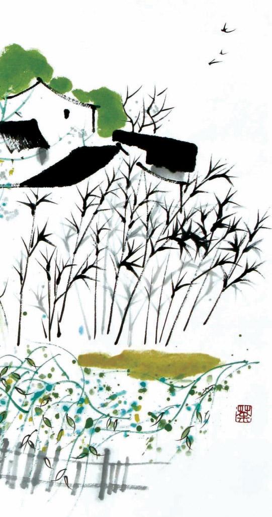 田野简笔画卷画