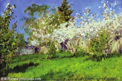 图为契诃夫好友,俄罗斯著名风景画家列维坦所画樱桃果树盛开的春日