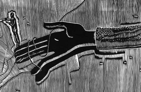 刘庆元木刻作品《黑白的现代性》