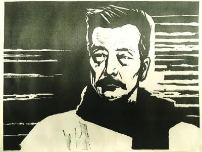 《鲁迅像》(黑白木刻版画),赵延年1961年作