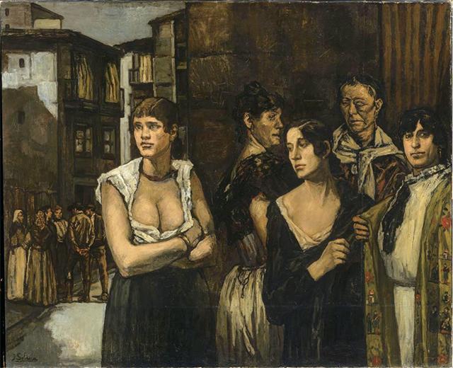 人物侧脸抽象画-一幅 黑色西班牙 的典型作品