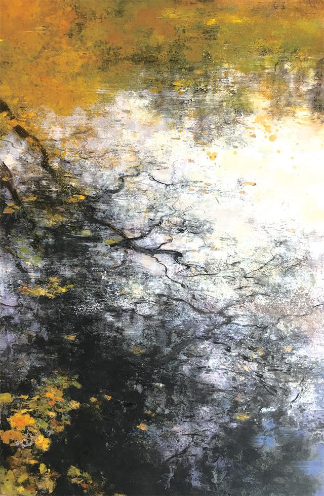 布达佩斯的雪之二  万叶千声之一 2014年春,我在北京画院美术馆初次见到了庄重的油画作品。在他所擅长的倒影和俯瞰航拍主题作品中,最打动我的当属那些淡雅朦胧的倒影系列。有点儿巴比松、有点儿印象派、有点儿柯罗、有点儿莫奈,是我对其画作的第一印象。同是2014年,我因协助画院筹备次年举办的齐白石首次境外大展而数次去往匈牙利首都布达佩斯,随着对这座多瑙河畔的城市了解越多,好感也就油然而生。我喜欢住在布达山顶的渔人堡旁边的酒店,并非因为这里守着旅游景点,而是因为这里离国家美术馆只有咫尺之距,便于我观展开会。记
